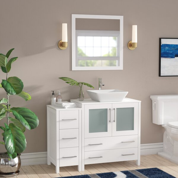 Karson Framed 42 Single Bathroom Vanity Set with Mirror by Wade Logan