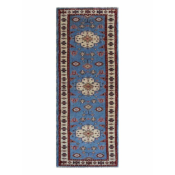 Auguste Oriental Kazak Hand-Knotted Wool/Silk Blue/Beige Area Rug by Bloomsbury Market