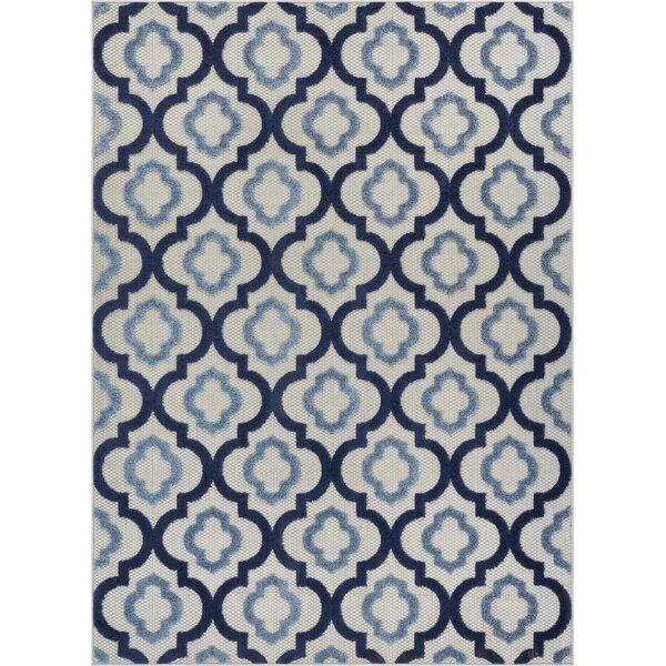 Dorado Illuminate Modern Lattice Trellis High-Low Blue Indoor/Outdoor Area Rug by Well Woven