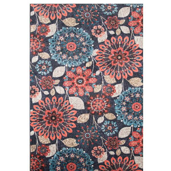 Fedna Floral Dream Navy/Red Area Rug by Red Barrel Studio