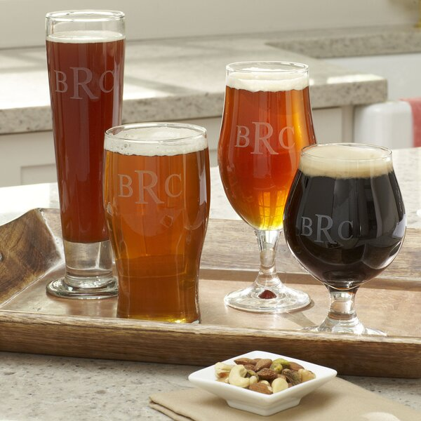 Hops Monogrammed Beer Glasses (Set of 4) by Birch Lane™