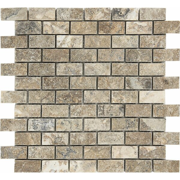 Brick 1 x 2 Stone Mosaic Tile in Antico Tumbled by Parvatile