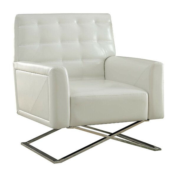 Shorewood Polyurethane Upholstered Metal Armchair by Orren Ellis