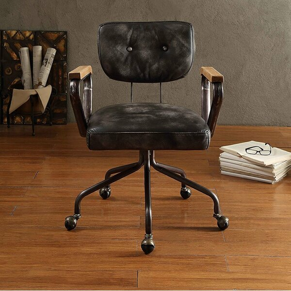 Lebow Swivel Executive Genuine Leather Office Chair by 17 Stories
