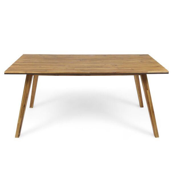Nader Outdoor Wooden Dining Table by Union Rustic