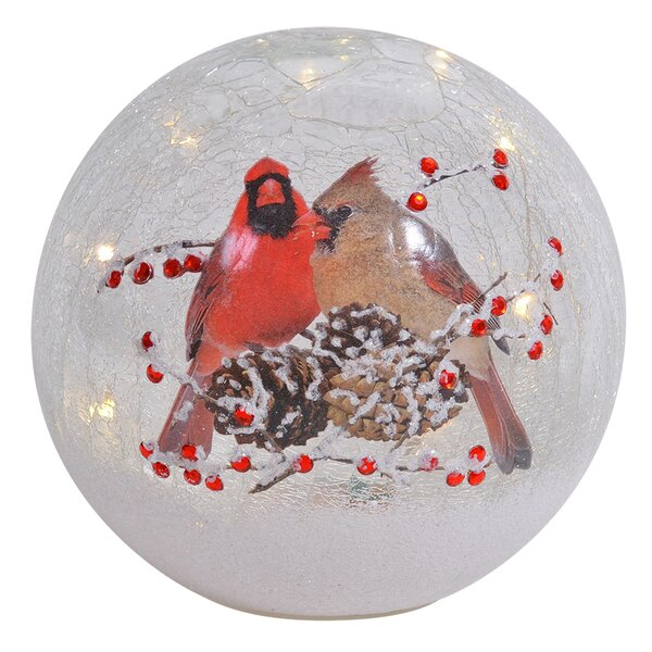 Bengal Cardinal Pair Crackle Glass Globe by The Holiday Aisle