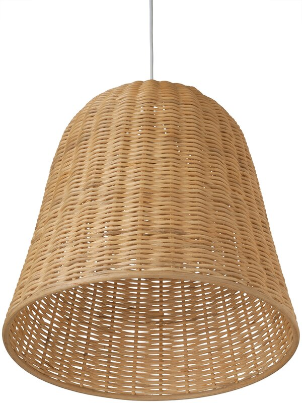 1-Light Wicker Bell Pendant Lamp