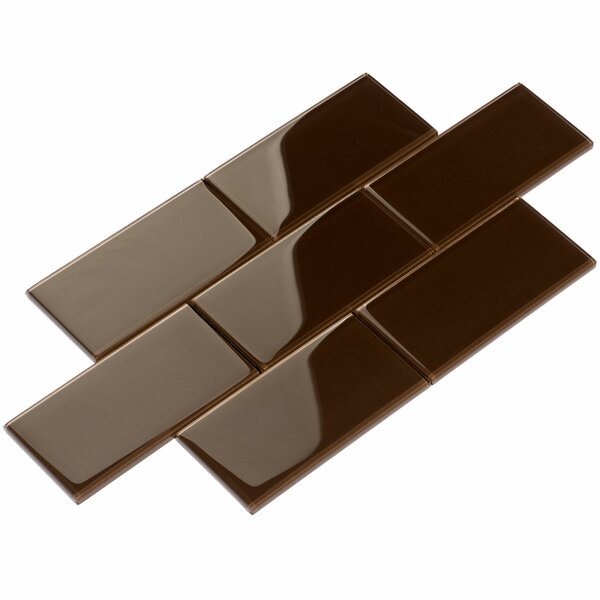 3 x 6 Glass Subway Tile in Classic Brown by Giorbello