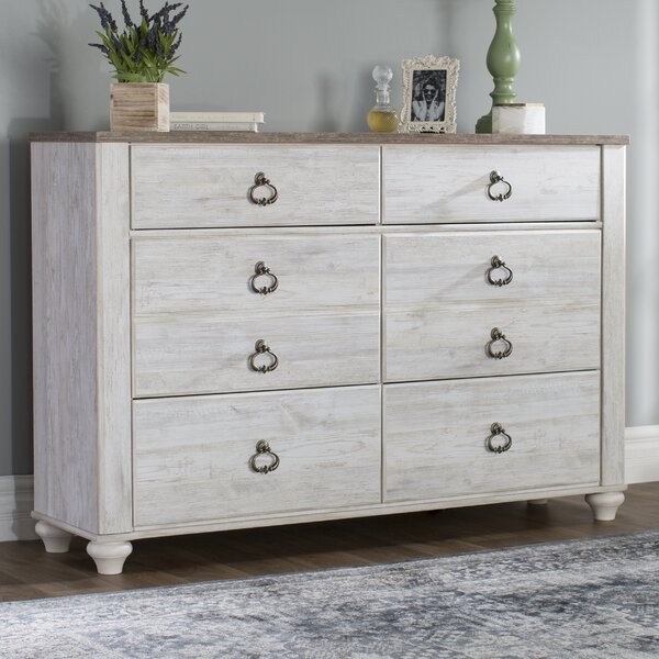 Naples 6 Drawer Double Dresser by Three Posts