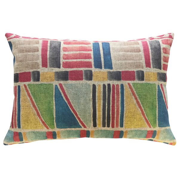 Chavez Colorful Geometric Linen Throw Pillow by Highland Dunes