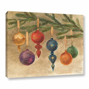 'Christmas Ornaments' by Albena Hristova Painting Print on Wrapped Canvas by ArtWall