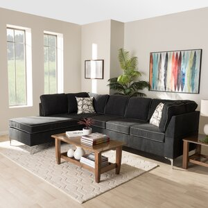 Linus Modern and Contemporary Two-Tone and Steel 2-Piece Stationary Sectional by Orren Ellis