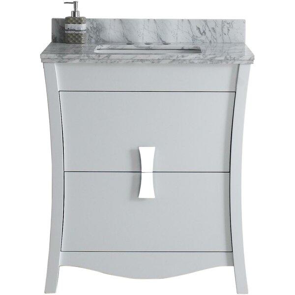 Karter Floor Mount 31 Single Bathroom Vanity Set with 4 Centers Faucet Mount