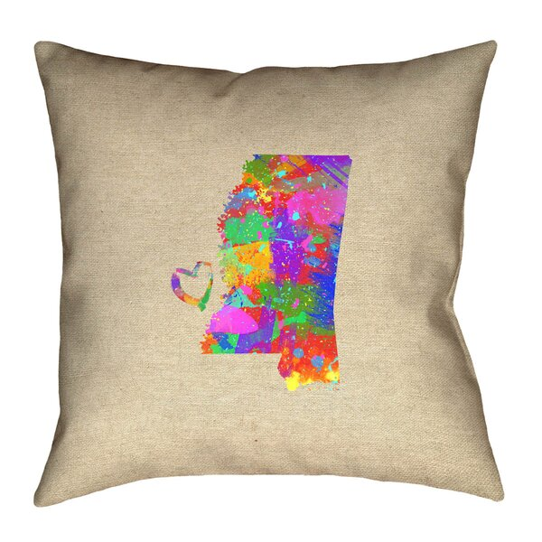 Austrinus Mississippi Map Love Watercolor Outdoor Throw Pillow by Ivy Bronx