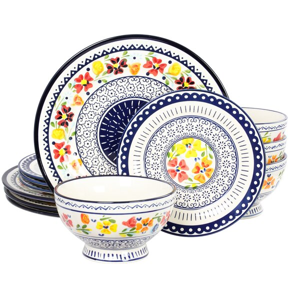 Luxembourg 12 Piece Dinnerware Set, Service for 4 by Gibson Elite