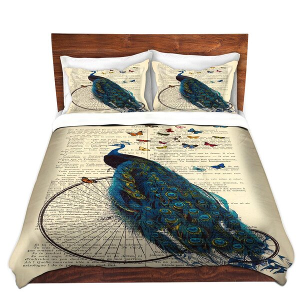 Peacock Bicycle Butterflies Duvet Cover Set by DiaNoche Designs