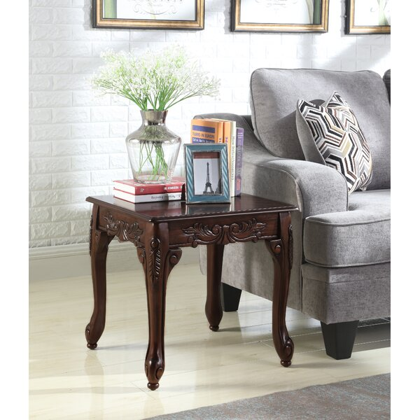 Longoria Traditional Ornate Detailing Wood End Table by Astoria Grand