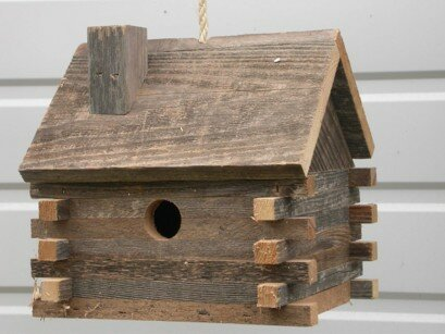 Log Cabin 10 in x 10 in x 8 in Birdhouse by Cedarnest