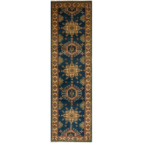 One-of-a-Kind Noriko Hand-Knotted Wool Navy Blue/Yellow Indoor Area Rug by Isabelline
