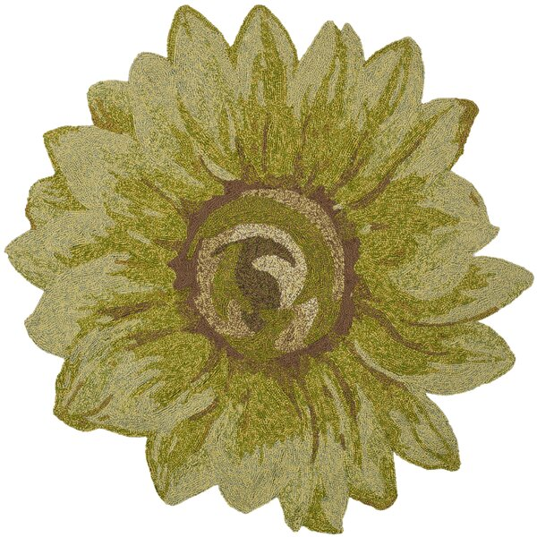 Angelique Sunflower Hand Tufted Green Area Rug by August Grove