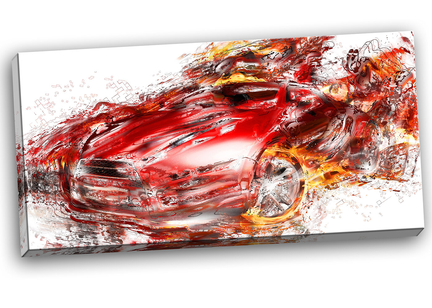 Designart Flaming Red Sports Car Painting Print On Wrapped Canvas Wayfair