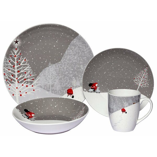 Santa Comes Home Coupe Porcelain 16 Piece Dinnerware Set, Service for 4 by The Holiday Aisle