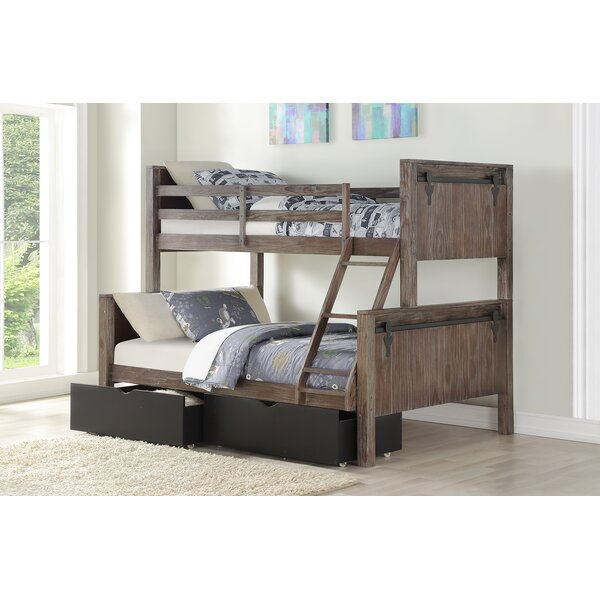 Colston Barn Door Twin Over Full Bunk Bed with Drawers by Harriet Bee