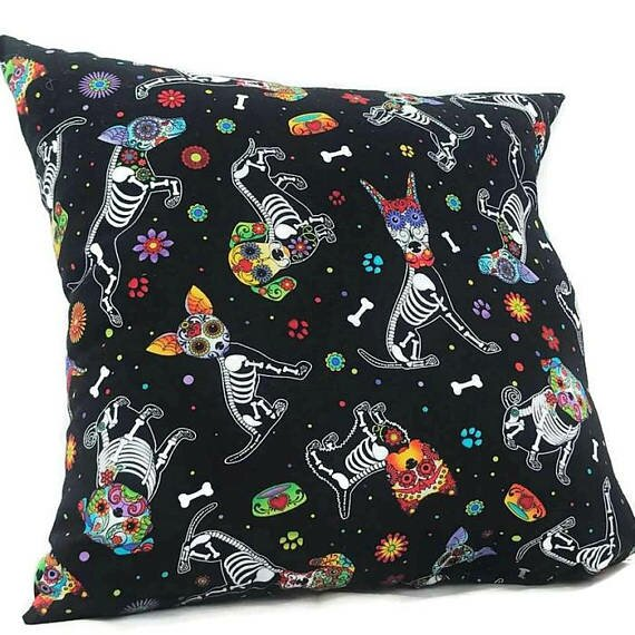 Dog Skull Throw Pillow by East Urban Home