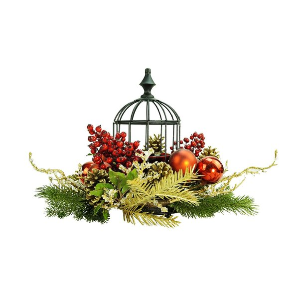 Berry and Pine Cone in Birdcage Christmas Glass Hurricane by The Holiday Aisle