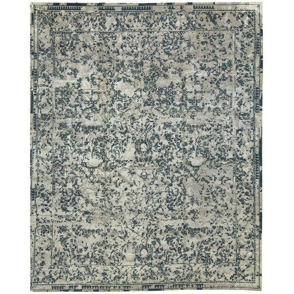 One-of-a-Kind Neo Villa Hand-Knotted Beige/Light Blue 14'6 x 18'7 Wool Area Rug