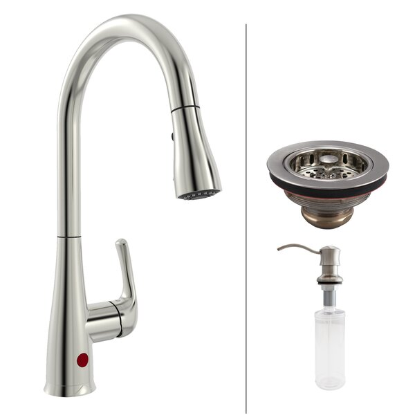 Essentials Single Handle Touchless Kitchen Faucet with Strainer and Soap Dispenser by Keeney Manufacturing Company