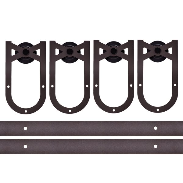 Classic 12 FT American Horseshoe Barn Style Sliding Double Door Hardware Kit by Calhome