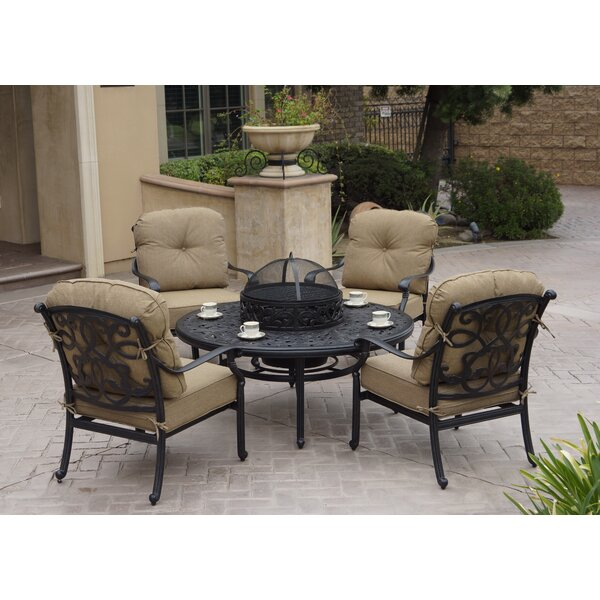 Windley 5 Piece Complete Patio Set with Cushions by Fleur De Lis Living