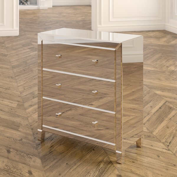 Broadbent 3 Drawer Mirrored Accent Chest by Rosdorf Park Rosdorf Park