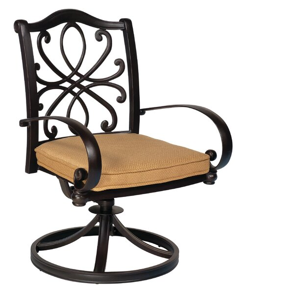 Holland Swivel Rocker Patio Dining Chair with Cushions by Woodard