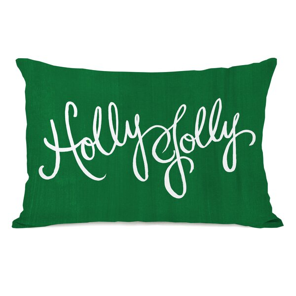 Holly Jolly Script Lumbar Pillow by The Holiday Aisle
