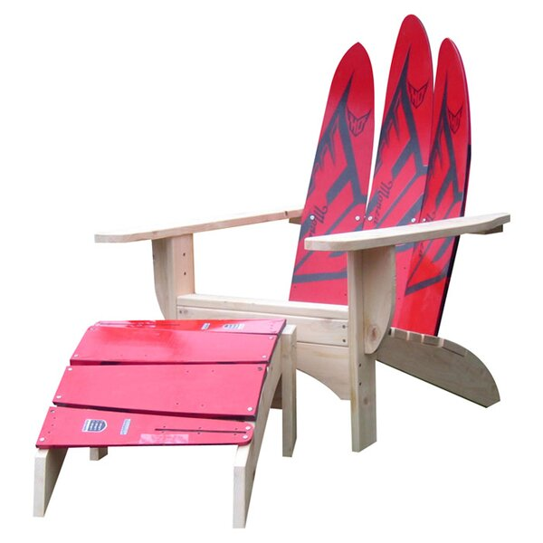 Water Ski Solid Wood Adirondack Chair with Ottoman by Ski Chair