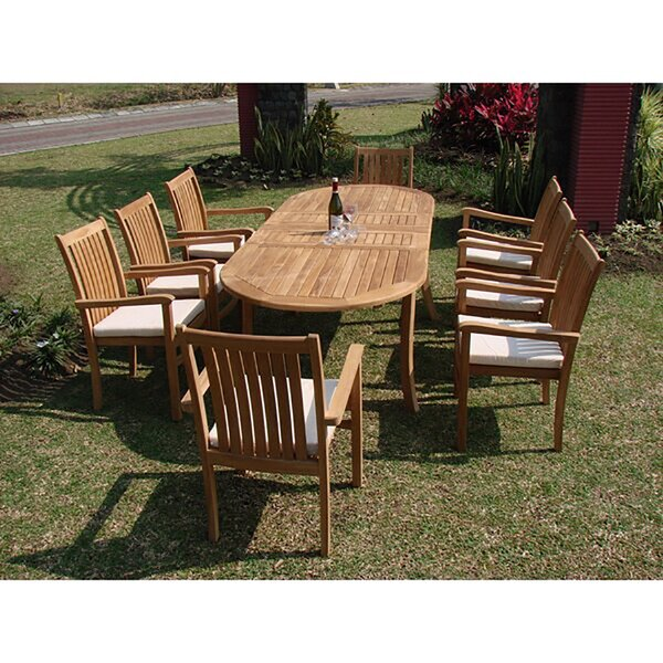 Mersey Luxurious 9 Piece Teak Dining Set by Rosecliff Heights