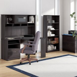 Hillsdale Corner Desk with Hutch Lateral File and 5 Shelf Bookcase