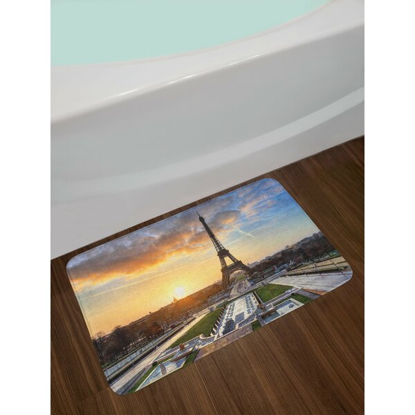 Sunrise in Paris with the Eiffel Tower Holidays Getaways Scenic Print Non-Slip Plush Bath Rug by East Urban Home
