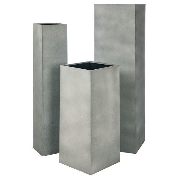 Church Large Pedestal Metal 3 Piece Pot Planter Set by 17 Stories