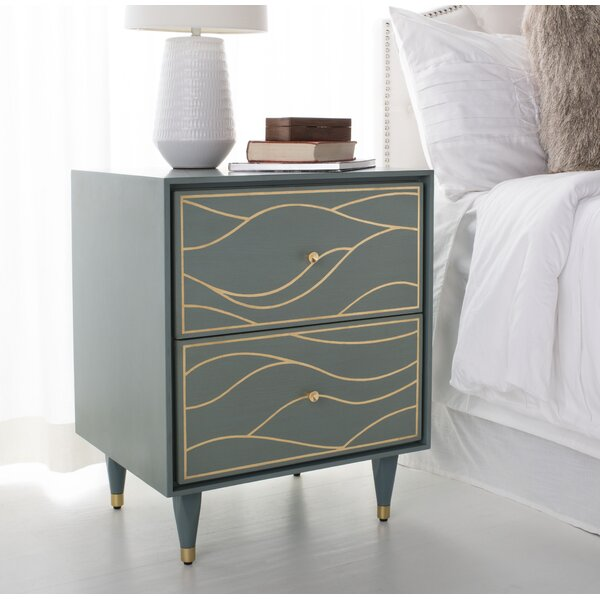 Clarkfield Wave 2 Drawer Nightstand by House of Hampton House of Hampton
