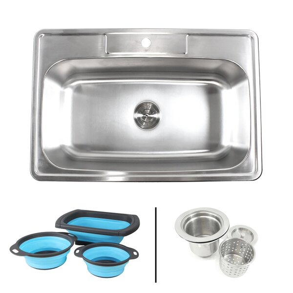 Topmount 33 x 22 Drop-In Kitchen Sink with Faucet and Collapsible Silicone Colanders by eModern Decor