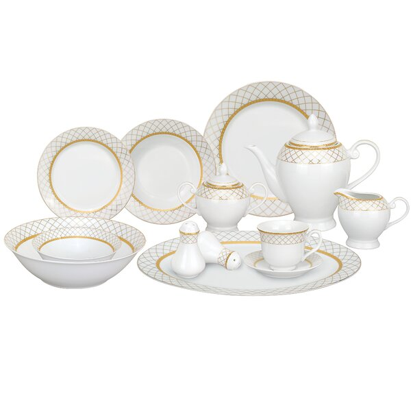 Beatrice Porcelain 57 Piece Dinnerware Set, Service for 8 by Lorren Home Trends