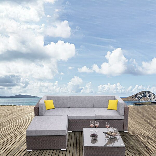 Brympton 5 Piece Rattan Sectional Seating Group with Cushions by Ebern Designs