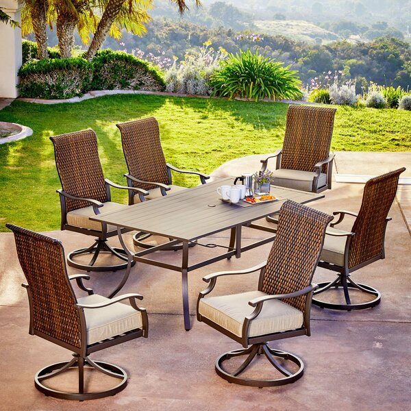 Kinlaw Rhone Valley 7 Piece Dining Set with Cushions Bayou Breeze RGAR1093
