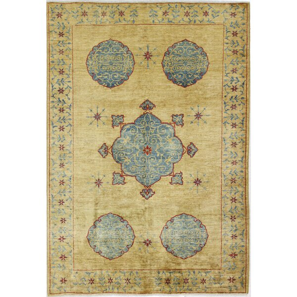 One-of-a-Kind Rodrigue Peshawar Hand-Woven Wool Beige/Blue Area Rug by Bloomsbury Market