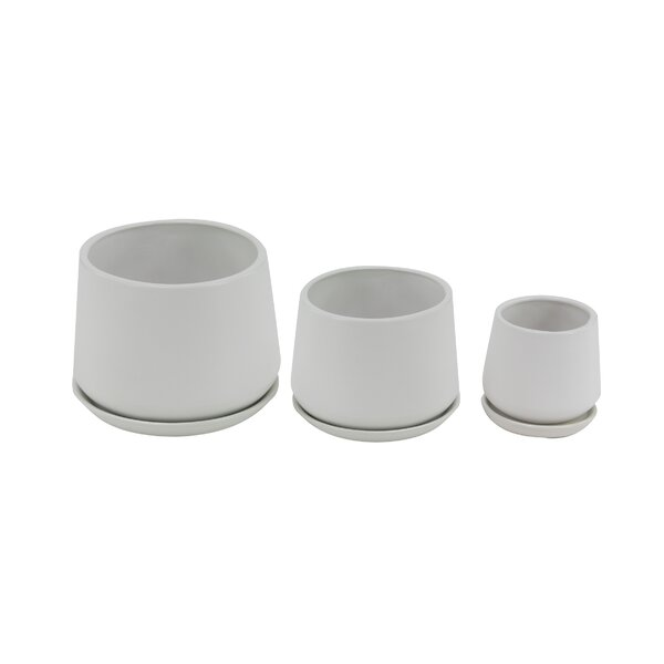 Palazzolo Modern 3-Piece Ceramic Pot Planter Set by George Oliver
