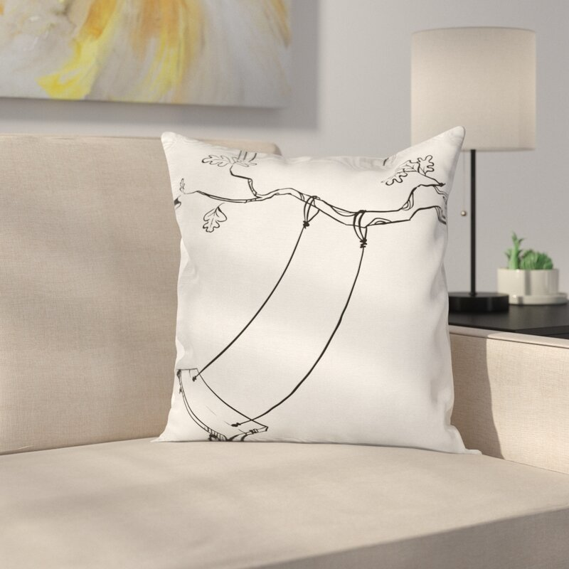 East Urban Home Outdoor Sketchy Tree Swing Joy Square Pillow Cover