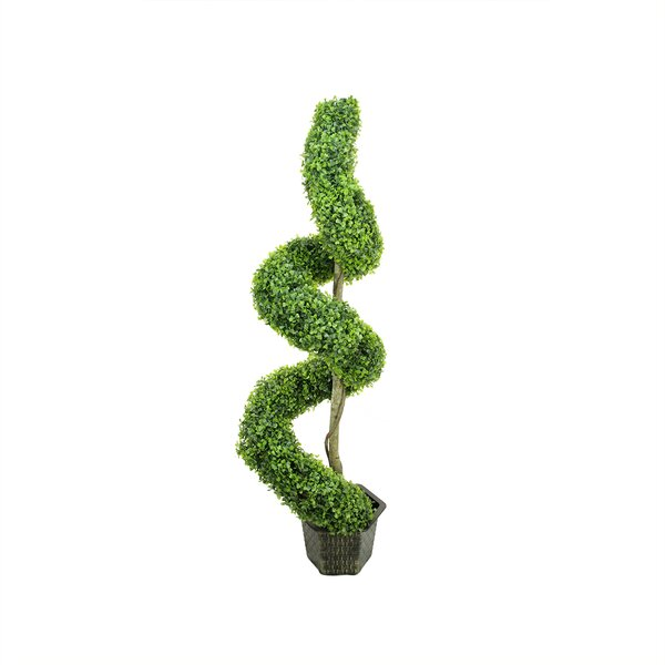 Two-Tone Artificial Boxwood Spiral Topiary Tree in Pot by Northlight Seasonal
